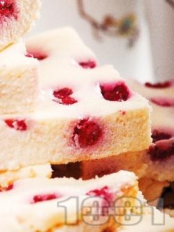 Серник - полски сладкиш (кейк, кекс) с малини, извара, заквасена сметана и оризово брашно за десерт - снимка на рецептата